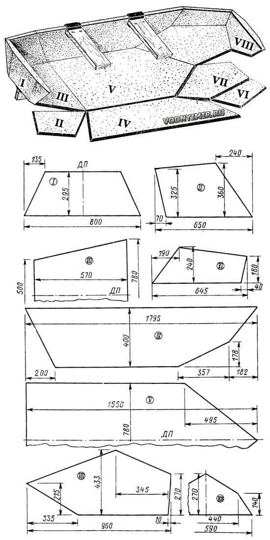 Раскрой деталей лодки из