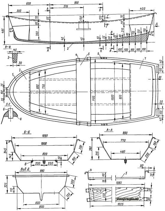 чертеж пластиковых лодок