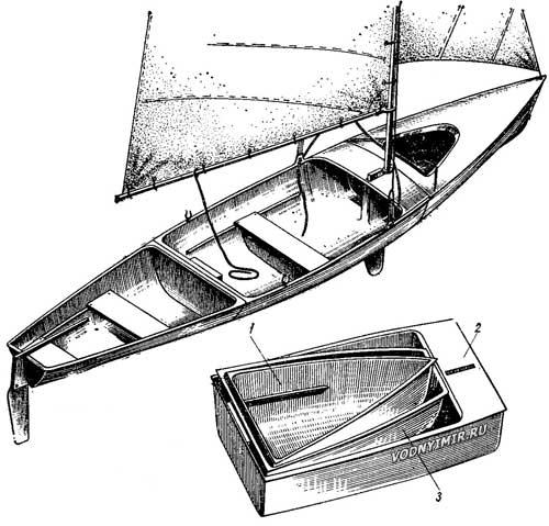 Общий вид трехсекционного каноэ из стеклопластика