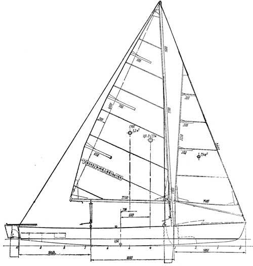 Общий вид универсальной лодки с парусным вооружением