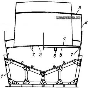 Сечение корпуса 12,5-метрового катера