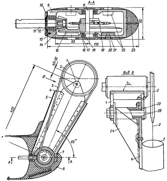 Конструктивный чертеж колонки привода велокатамарана.