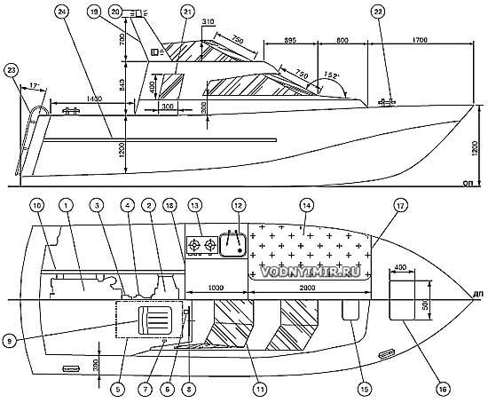 Боковой вид и план катера
