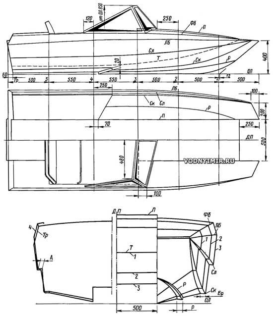 Теоретический чертеж катамарана: проекция полуширота, бок и корпус