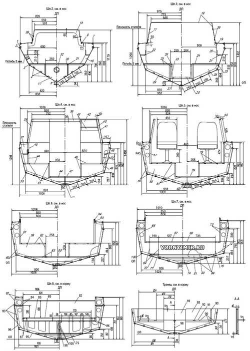 Конструктивные поперечные сечения мотолодки «Север 520»