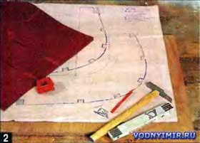 Пользуясь таблицей плазовых ординат необходимо вычертить в натуральную величину шпангоуты-лекала и штевни