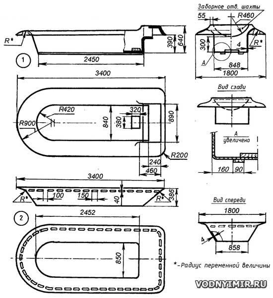 Теоретический чертеж корпуса катера на воздушной подушке
