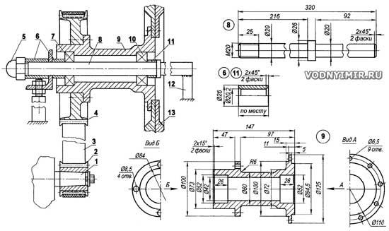 Схема трансмиссии винтомоторной установки катера на воздушной подушке