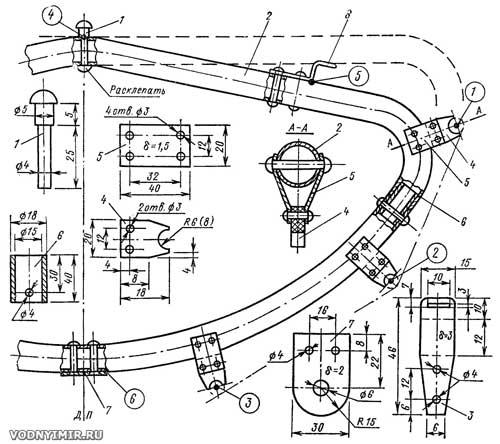 Конструкция шпангоута одноместной разборной байдарки «Таймень»