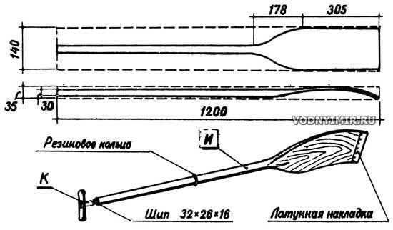 Весло и разметка заготовки весла