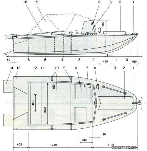 Схема общего расположения автомобильной мотолодки
