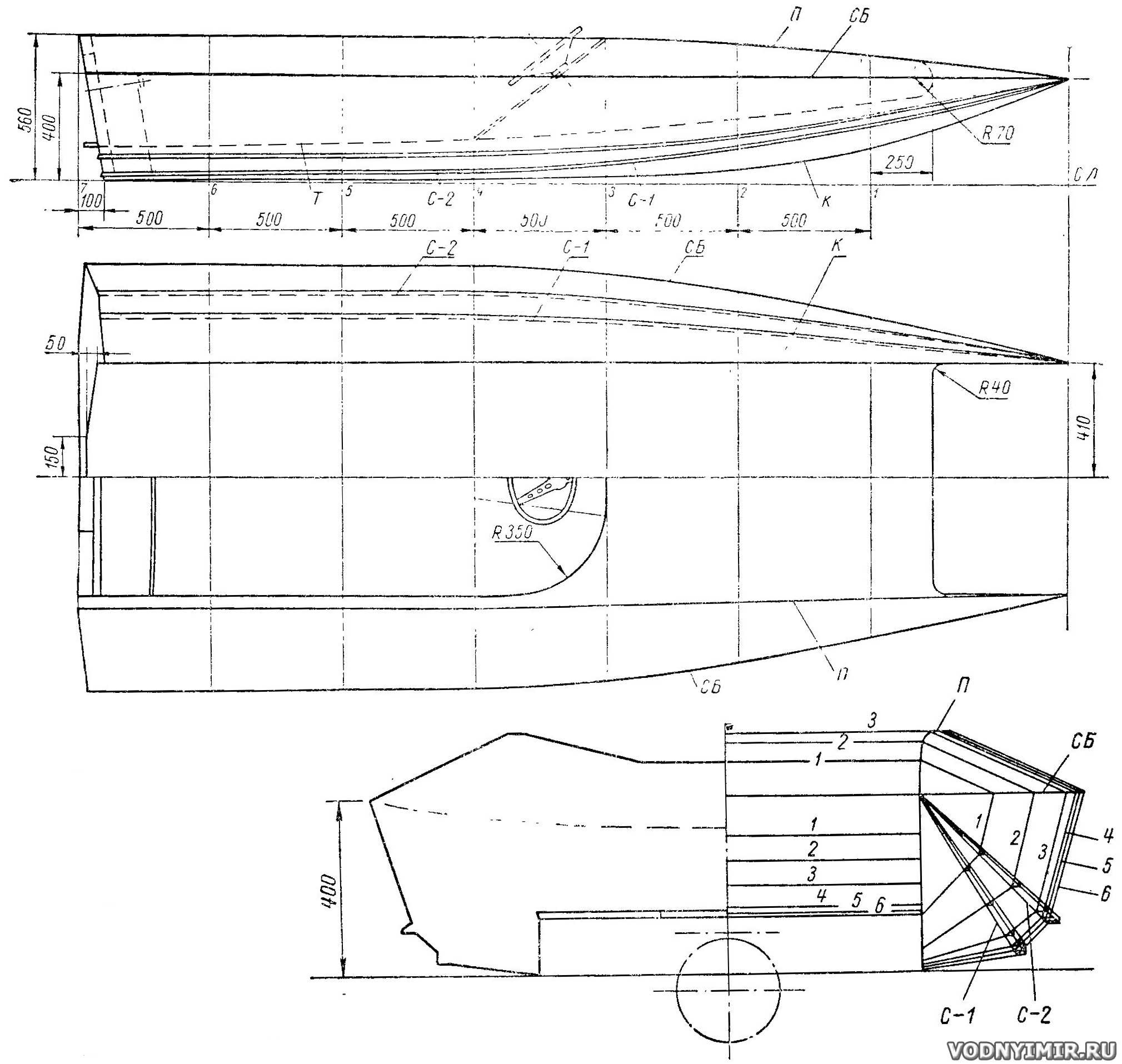 речная лодка чертеж
