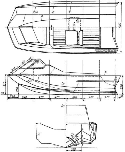 Общий вид и схема обводов мини-тримарана