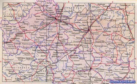 Карта брянской орловской курской