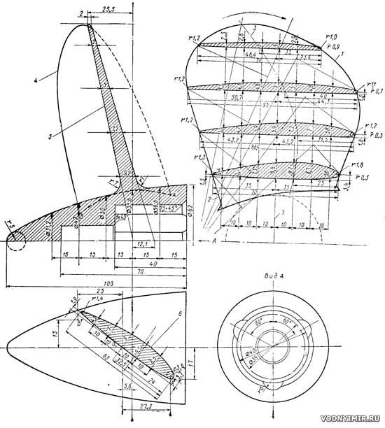 """Гребные винты уменьшенного шага для мотора  """"Вихрь """" - самодельный винт для подвесного лодочного мотора."""