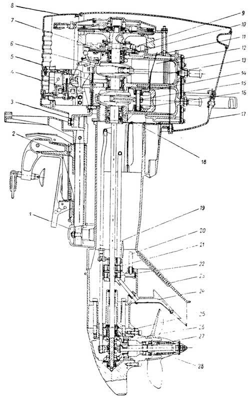 4 тактный лодочный мотор в разрезе