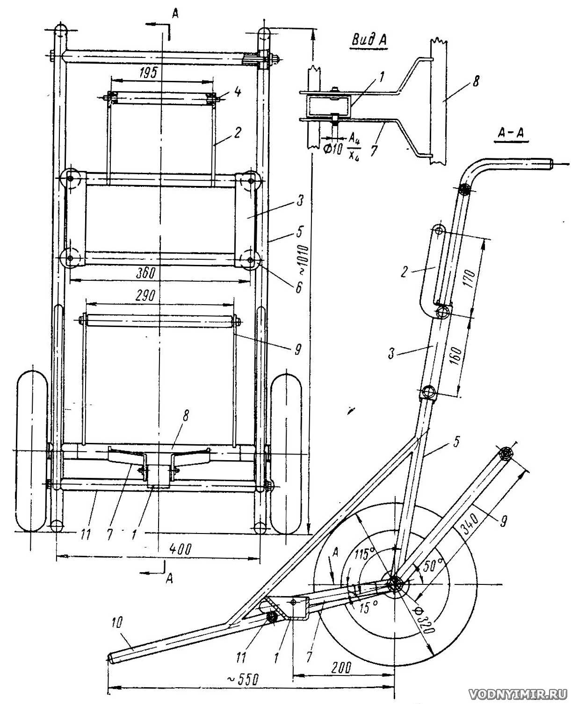 Тележка для перевозки лодочных моторов своими руками